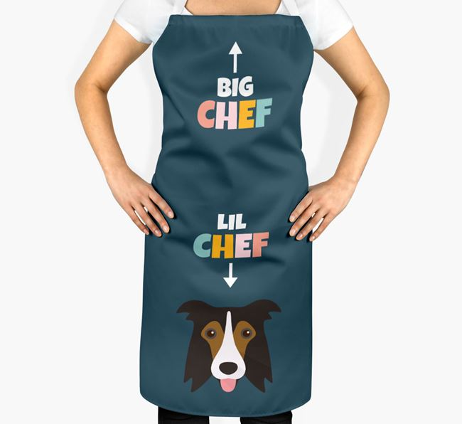 'Big Chef, Lil' Chef' Adult Apron with Border Collie Icon
