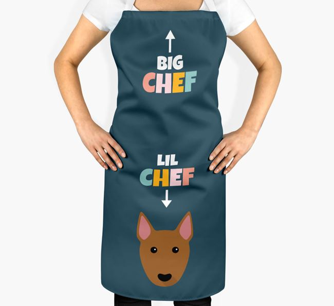 'Big Chef, Lil' Chef' Adult Apron with Bull Terrier Icon