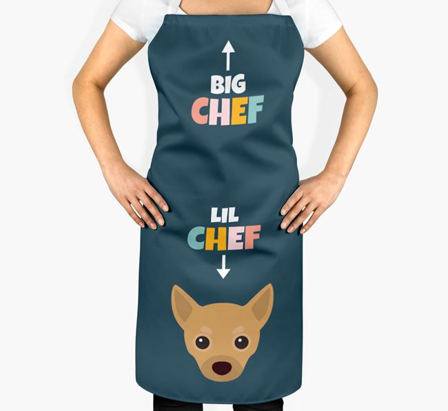 'Big Chef, Lil' Chef' Adult Apron with Chihuahua Icon