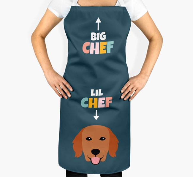 'Big Chef, Lil' Chef' Adult Apron with Flat-Coated Retriever Icon