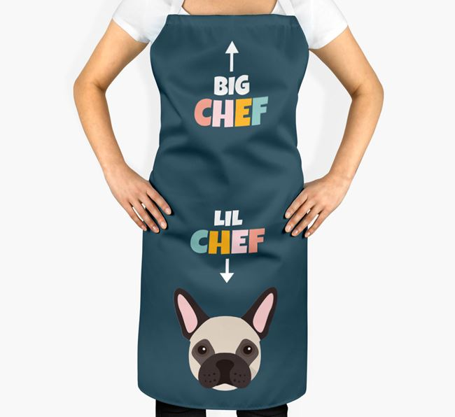 'Big Chef, Lil' Chef' Adult Apron with French Bulldog Icon