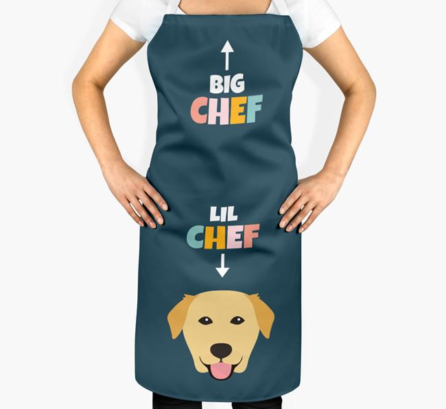 'Big Chef, Lil' Chef' Adult Apron with Golden Labrador Icon