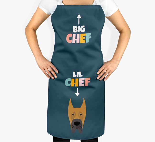 'Big Chef, Lil' Chef' Adult Apron with Great Dane Icon