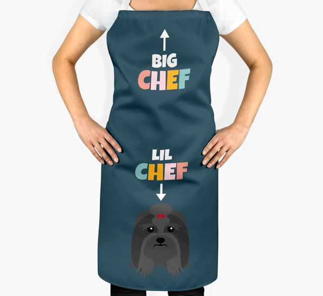 'Big Chef, Lil' Chef' Adult Apron with Lhasa Apso Icon