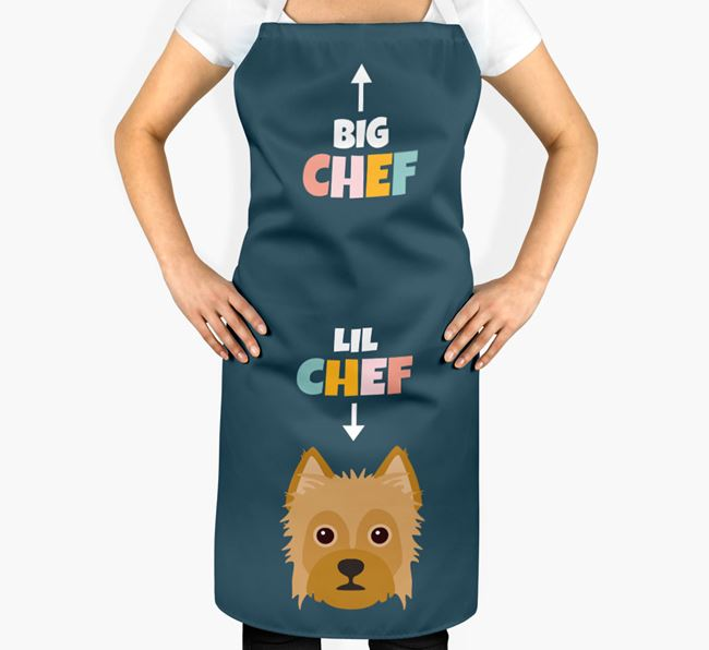 'Big Chef, Lil' Chef' Adult Apron with Mixed Breed Icon