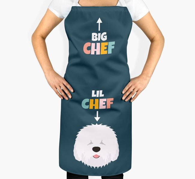 'Big Chef, Lil' Chef' Adult Apron with Old English Sheepdog Icon
