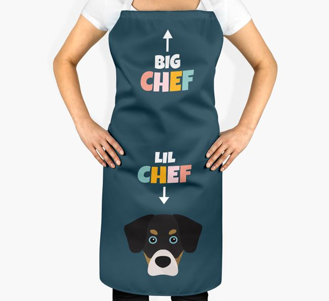 'Big Chef, Lil' Chef' Adult Apron with Siberian Cocker Icon