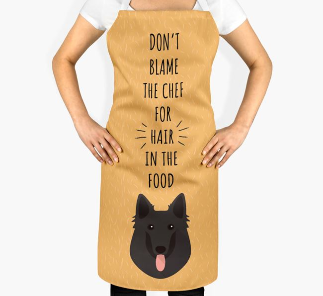 'Don't Blame the Chef' Adult Apron with Belgian Groenendael Icon