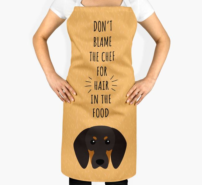 'Don't Blame the Chef' Adult Apron with Black and Tan Coonhound Icon