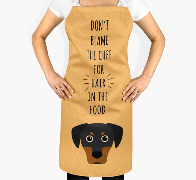 'Don't Blame the Chef' Adult Apron with Blue Lacy Icon