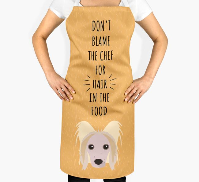 'Don't Blame the Chef' Adult Apron with Hairless Chinese Crested Icon