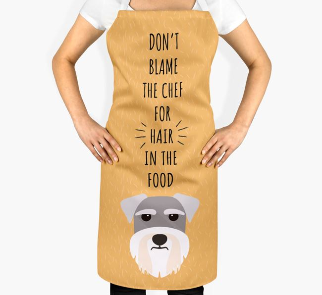 'Don't Blame the Chef' Adult Apron with Miniature Schnauzer Icon