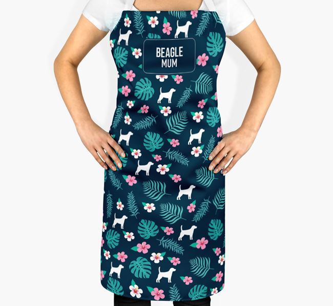 'Beagle Mum' Adult Apron with Floral Pattern