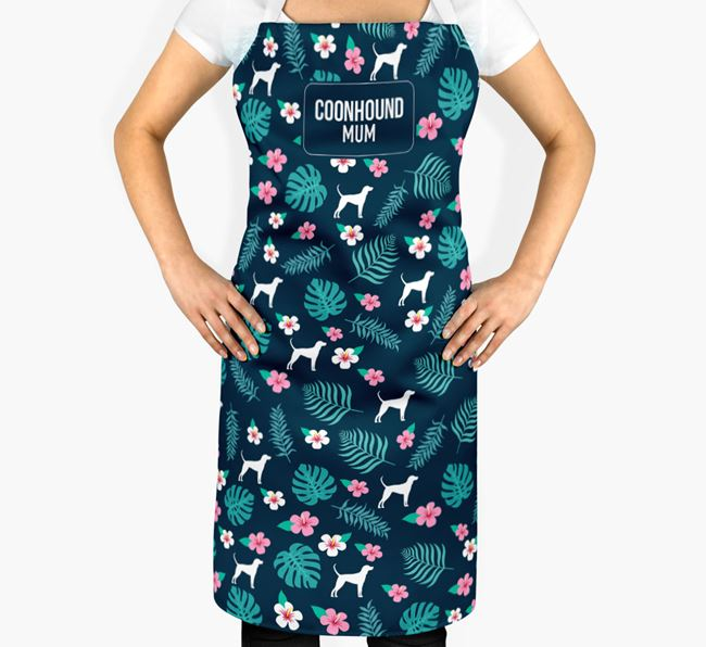'Black and Tan Coonhound Mum' Adult Apron with Floral Pattern