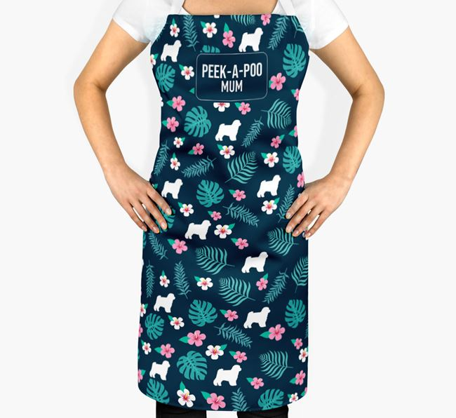 'Peek-a-poo Mum' Adult Apron with Floral Pattern