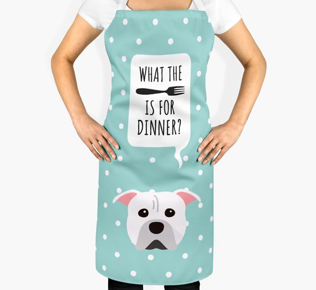 'What's for dinner?' Adult Apron with American Pit Bull Terrier Icon