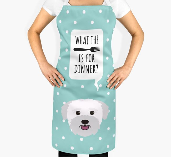 'What's for dinner?' Adult Apron with Bichon Yorkie Icon