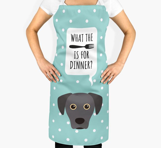 'What's for dinner?' Adult Apron with Blue Lacy Icon