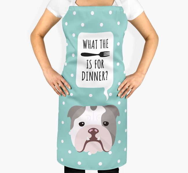 'What's for dinner?' Adult Apron with English Bulldog Icon