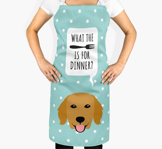 'What's for dinner?' Adult Apron with Flat-Coated Retriever Icon