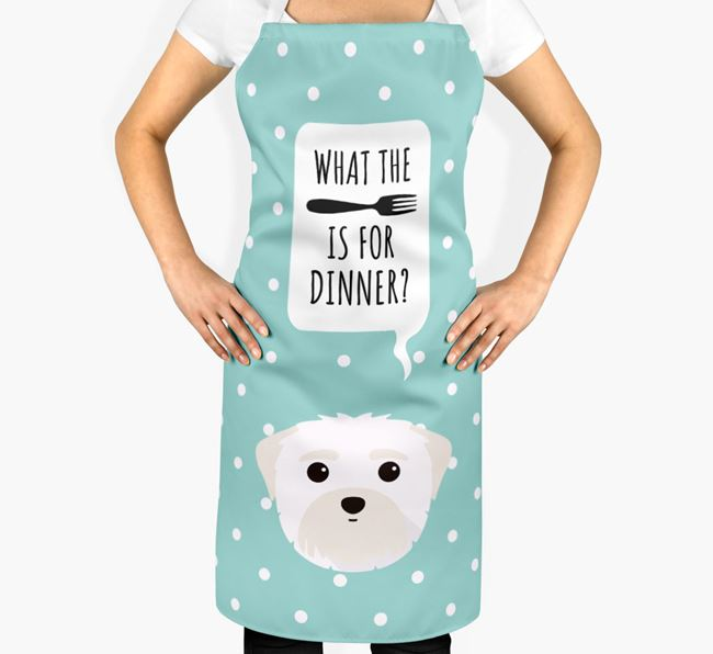 'What's for dinner?' Adult Apron with Maltese Icon