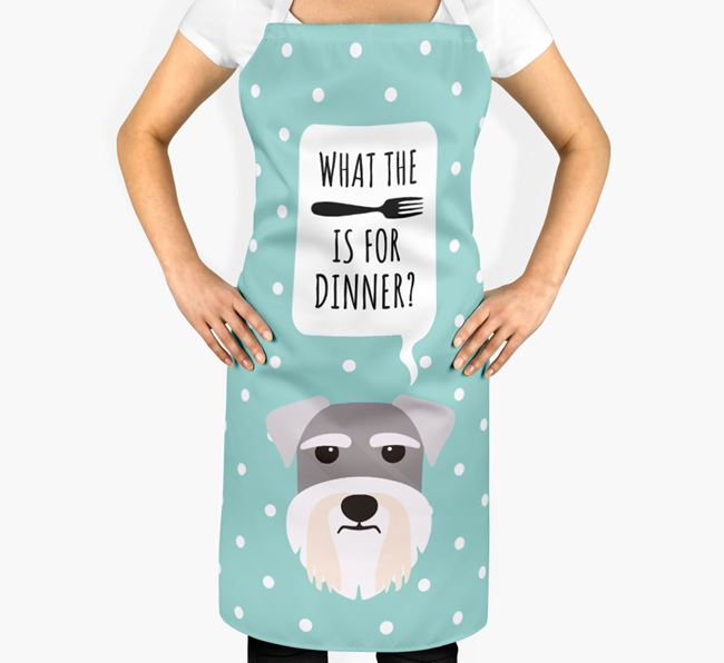 'What's for dinner?' Adult Apron with Miniature Schnauzer Icon