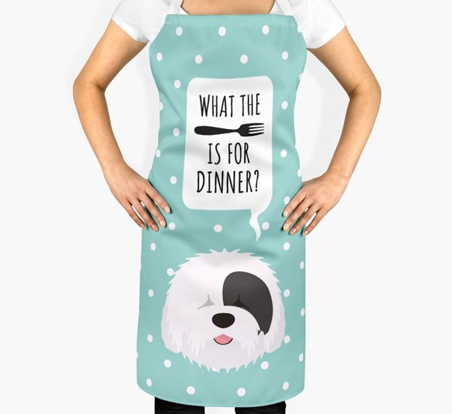 'What's for dinner?' Adult Apron with Old English Sheepdog Icon
