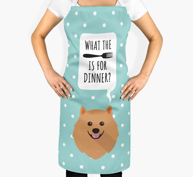'What's for dinner?' Adult Apron with Pomeranian Icon