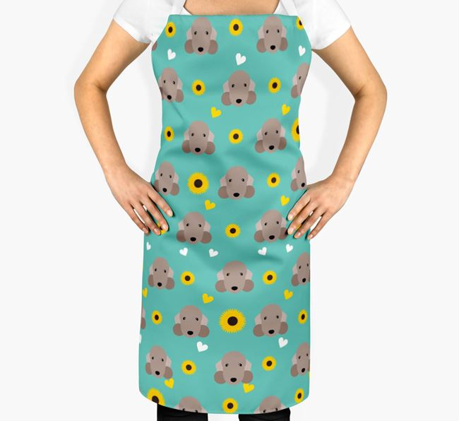 Sunflower Pattern Apron with Bedlington Terrier Icons