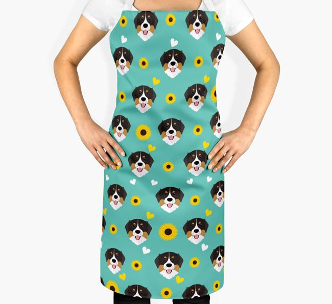 Sunflower Pattern Apron with Bernese Mountain Dog Icons