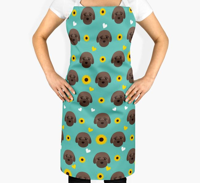 Sunflower Pattern Apron with Bich-poo Icons