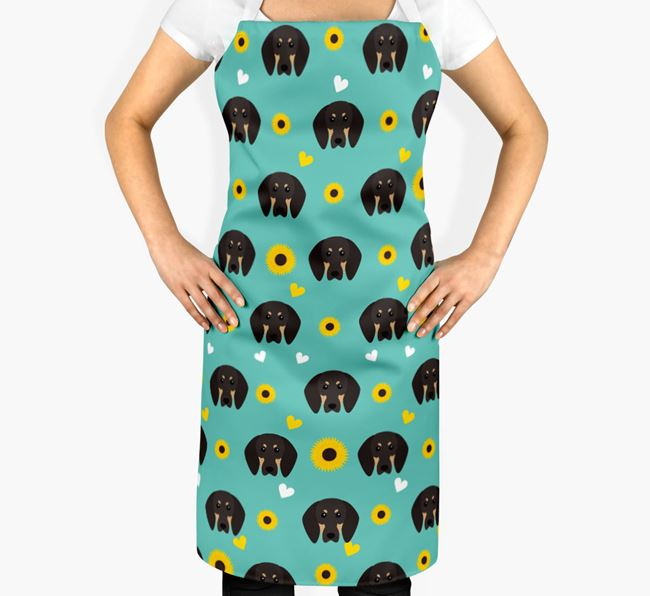 Sunflower Pattern Apron with Black and Tan Coonhound Icons