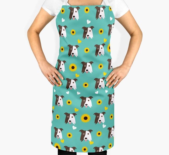 Sunflower Pattern Apron with Border Collie Icons