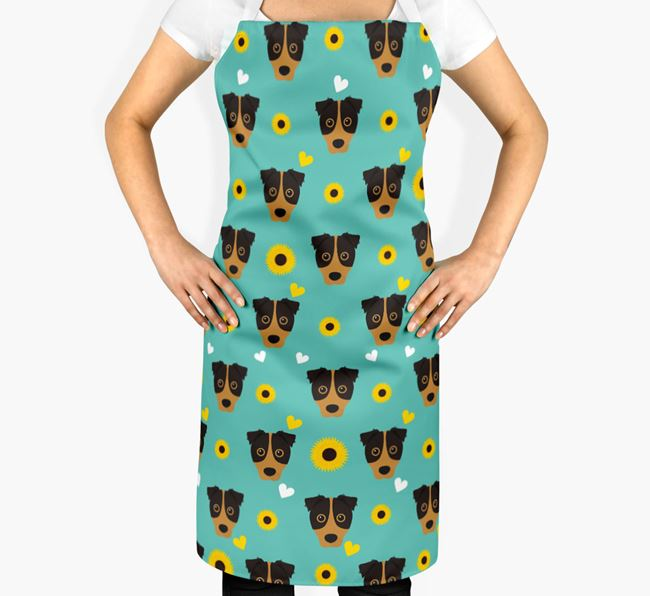 Sunflower Pattern Apron with Border Jack Icons