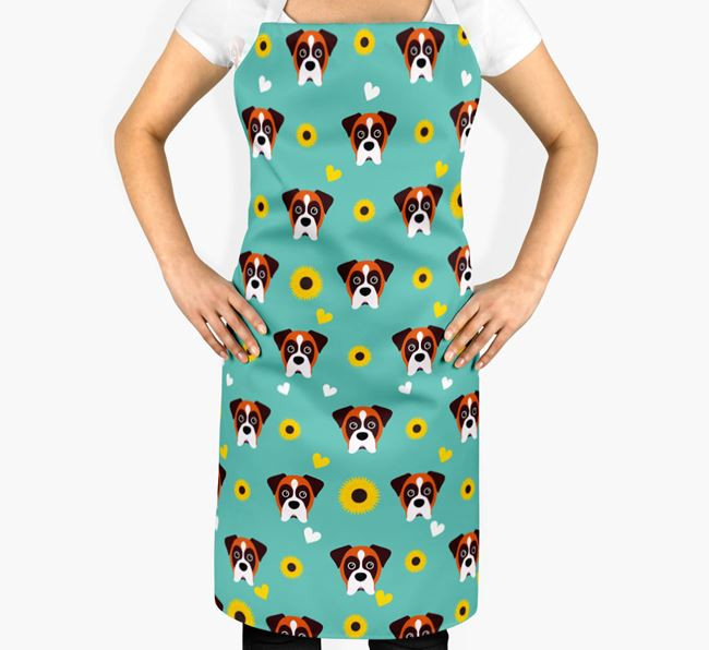 Sunflower Pattern Apron with Dog Icons