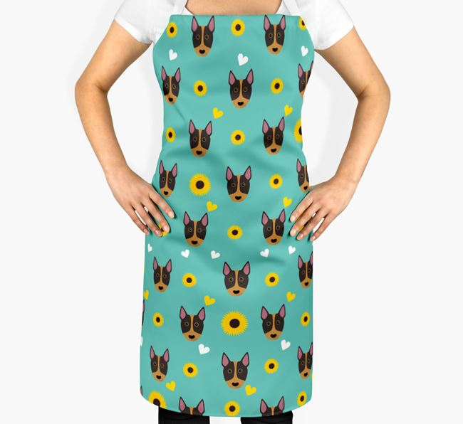 Sunflower Pattern Apron with Bull Terrier Icons