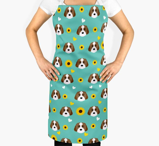 Sunflower Pattern Apron with Cavachon Icons