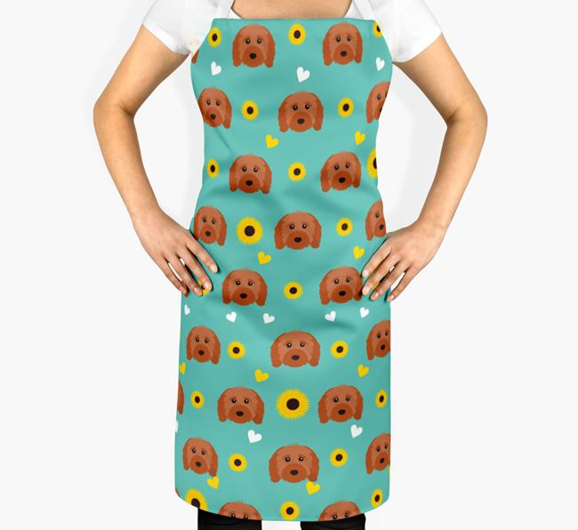 Sunflower Pattern Apron with Cavapoo Icons