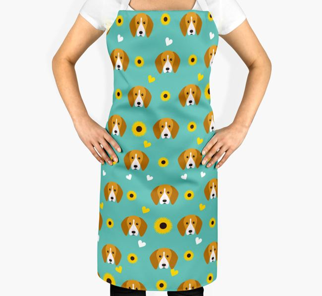 Sunflower Pattern Apron with English Coonhound Icons