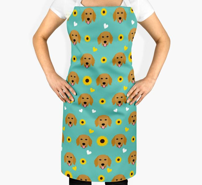 Sunflower Pattern Apron with Flat-Coated Retriever Icons