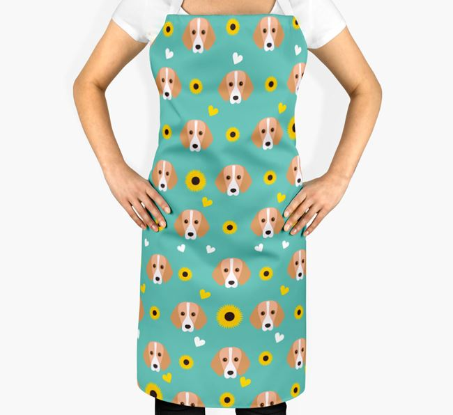 Sunflower Pattern Apron with Foxhound Icons