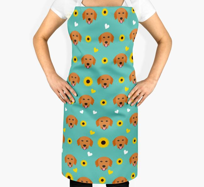 Sunflower Pattern Apron with Golden Retriever Icons