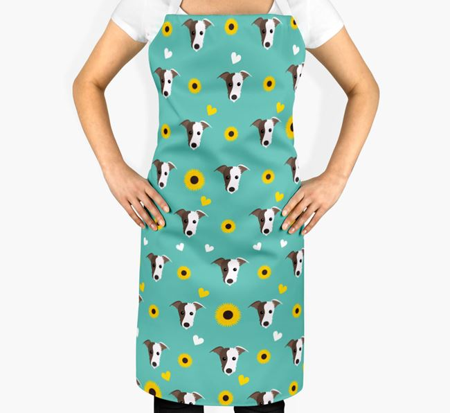 Sunflower Pattern Apron with Lurcher Icons
