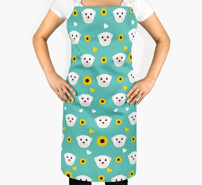 Sunflower Pattern Apron with Maltese Icons