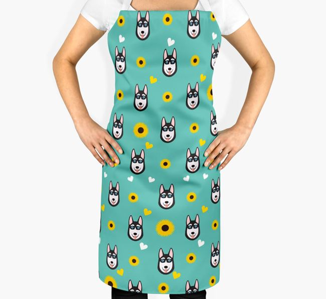 Sunflower Pattern Apron with Siberian Husky Icons
