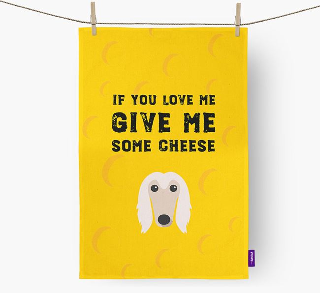 'Give Me Some Cheese' Dish Towel with Afghan Hound Icon