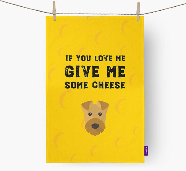 'Give Me Some Cheese' Tea Towel with Airedale Terrier Icon