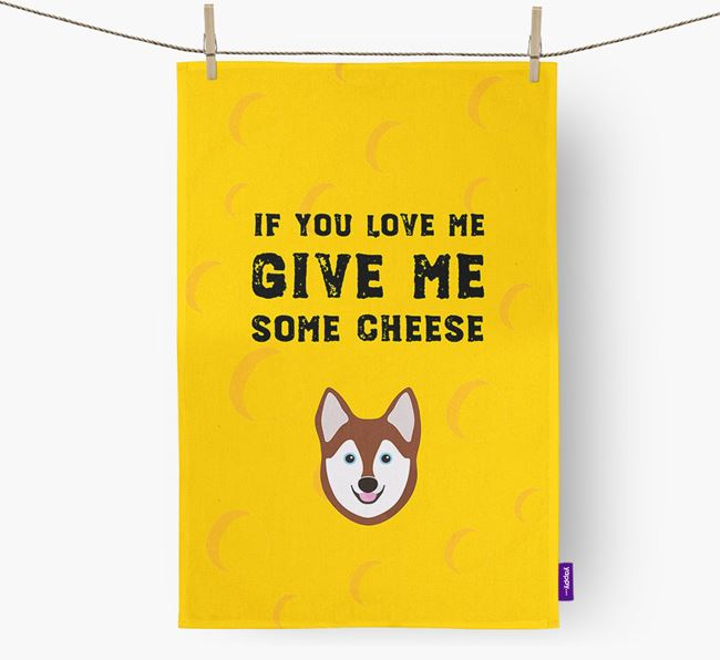 'Give Me Some Cheese' Dish Towel with Alaskan Klee Kai Icon