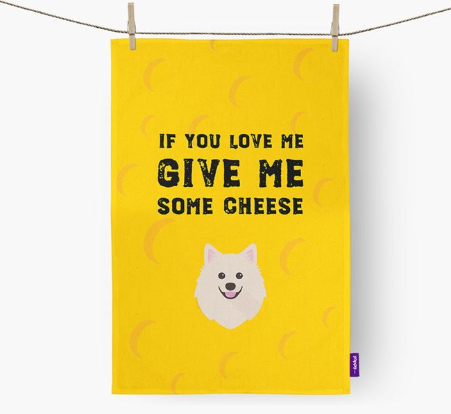 'Give Me Some Cheese' Dish Towel with American Eskimo Dog Icon