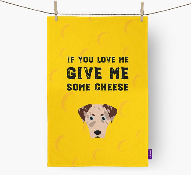 'Give Me Some Cheese' Dish Towel with American Leopard Hound Icon
